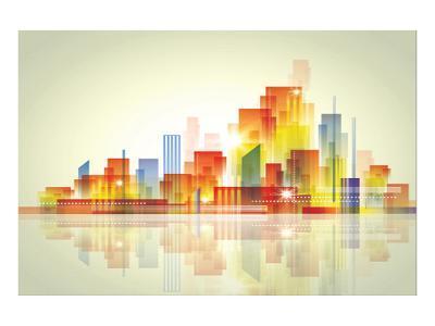 Watercolour City Landscape--Art Print