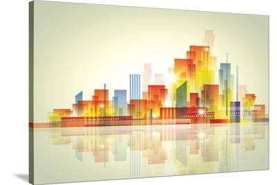 Watercolour City Landscape--Stretched Canvas Print