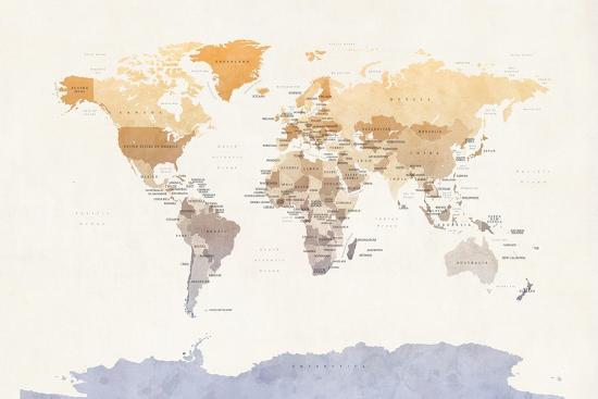 Watercolour Political Map of the World-Michael Tompsett-Art Print