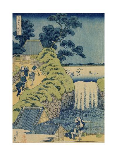 Waterfall Aigaoka (From the Series Waterfalls of the Various Province), C1829-Katsushika Hokusai-Giclee Print