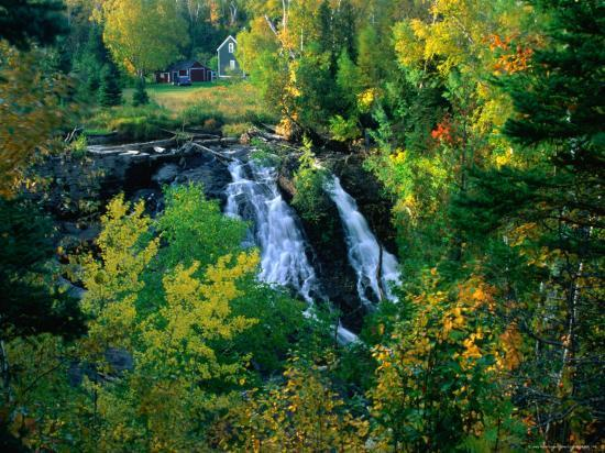 Waterfall and Autumn Colours with House in Background, Silver River Falls, Keweenaw County, USA-Charles Cook-Photographic Print