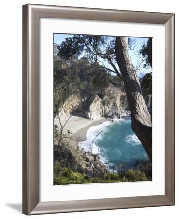 Waterfall and Beach at Julia Pfeiffer Burns State Park, Near Big Sur, California-Donald Nausbaum-Framed Photographic Print