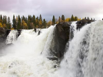 Waterfall and Forest in Autumn-Christer Fredriksson-Photographic Print