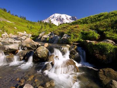 Waterfall and Mt. Rainier-Craig Tuttle-Photographic Print