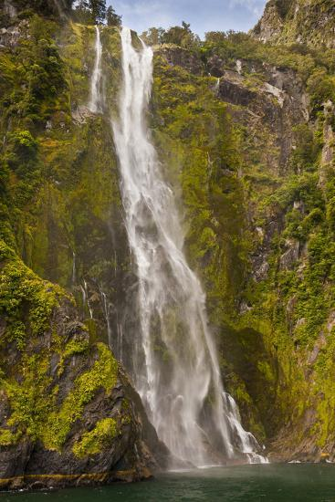 Waterfall Cascades into Milford Sound, Fiordland National Park, South Island, New Zealand--Photographic Print