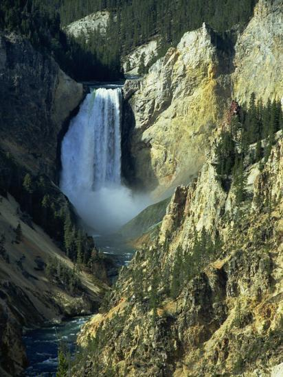 Waterfall, Grand Canyon of the Yellowstone, Yellowstone National Park, Wyoming, USA-Jean Brooks-Photographic Print