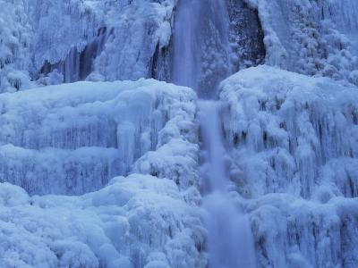 Waterfall Iced over in Winter in Franche-Comte, France, Europe-Michael Busselle-Photographic Print