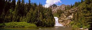 Waterfall in a Forest, Eagle Falls, Two Medicine Valley, Us Glacier National Park, Montana, USA