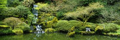 Waterfall in a Garden, Japanese Garden, Washington Park, Portland, Oregon, USA--Photographic Print