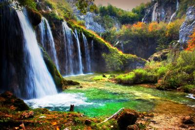 Waterfall in Forest. Crystal Clear Water. Plitvice Lakes, Croatia-Michal Bednarek-Photographic Print