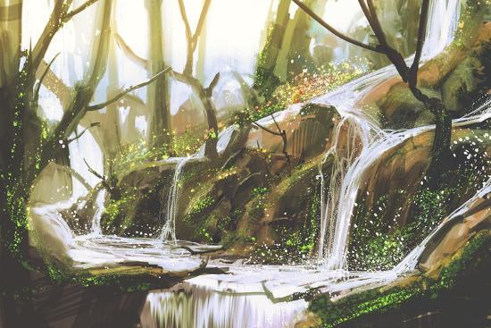 Waterfall in Forest,Illustration Painting-Tithi Luadthong-Art Print
