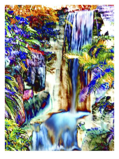 Waterfall in Glorious Tropical Color-Rich LaPenna-Giclee Print