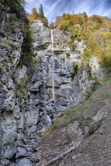 Waterfall in the Autumnal Wood-Jurgen Ulmer-Photographic Print