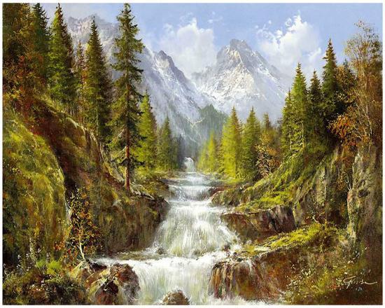 Waterfall In The Carpathians-Helmut Glassl-Art Print