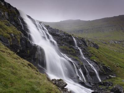 Waterfall, Laksa River Near Hellur, Eysturoy Island, Faroe Islands, Denmark, Europe-Patrick Dieudonne-Photographic Print