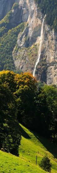 Waterfall, Lauterbrunnen Valley, Wengen, Lauterbrunnen, Interlaken-Oberhasli, Bernese Oberland--Photographic Print