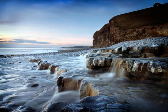 Waterfall on Monknash Beach-Ann Clark Landscapes-Photographic Print