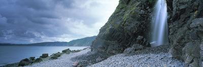 Waterfall on the Beach, Shingle Beach, Clovelly, North Devon, Devon, England--Photographic Print