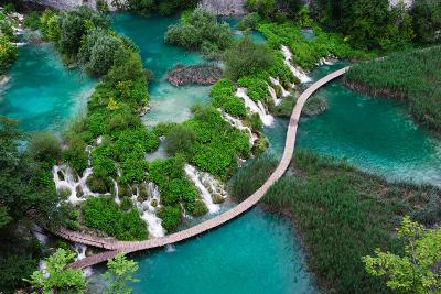 Waterfalls in Plitvice National Park. Aerial View. One Vivid Turquoise Lake Flows into Another.-Evgeniya Moroz-Photographic Print
