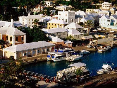 Waterfront Houses and Boats at Dock, St. George's Island, St. George's Parish, Bermuda-Richard Cummins-Photographic Print