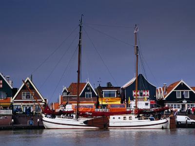 Waterfront Houses and Boats, Volendam, Netherlands-Izzet Keribar-Photographic Print