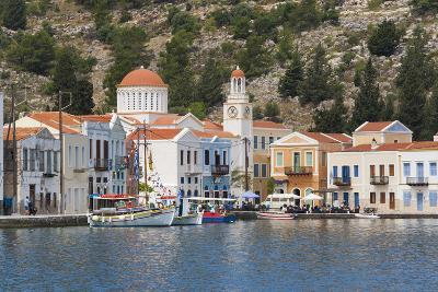 Waterfront Houses and Church, Dodecanese Islands-Ruth Tomlinson-Photographic Print