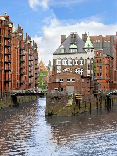 Waterfront Warehouses and Lofts in the Speicherstadt Warehouse District of Hamburg, Germany,-Miva Stock-Photographic Print