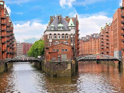 Waterfront Warehouses in the Speicherstadt Warehouse District of Hamburg, Germany-Miva Stock-Photographic Print