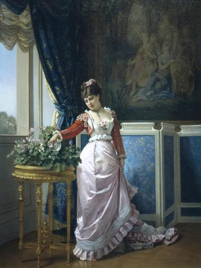 Watering Flowers-Auguste Toulmouche-Giclee Print