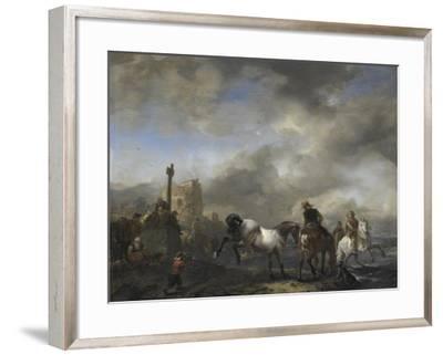Watering Horses Near a Boundary Marker-Philips Wouwerman-Framed Art Print