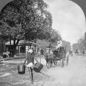 Watering the Streets of Rangoon, Burma, 1908