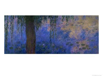 Waterlilies and Willows-Claude Monet-Giclee Print