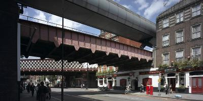 Waterloo Station, Lambeth, London. Train Bridges and Pub-Richard Bryant-Photographic Print