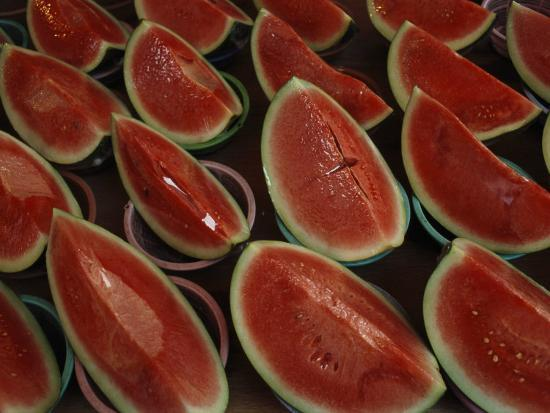 Watermelon Slices Sold at a Market-Todd Gipstein-Photographic Print