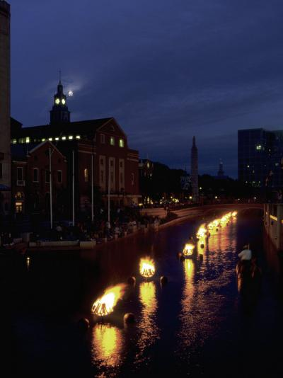 Waterplace Park at Night, Providence, RI-James Lemass-Photographic Print