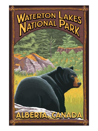 Waterton Lakes National Park, Canada - Bear in Forest-Lantern Press-Art Print