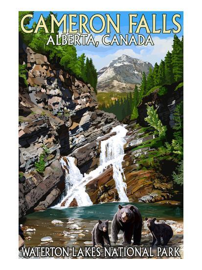 Waterton Lakes National Park, Canada - Cameron Falls and Bear Family-Lantern Press-Art Print