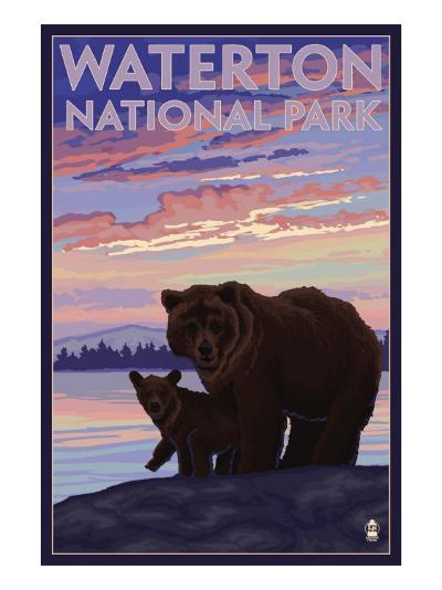 Waterton National Park, Canada - Bear & Cub-Lantern Press-Art Print