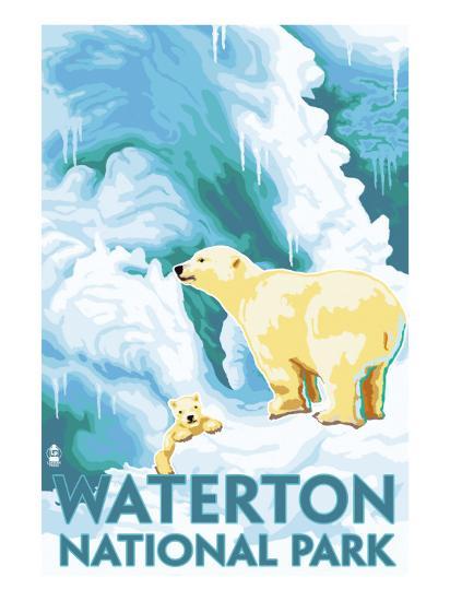 Waterton National Park, Canada - Polar Bear & Cub-Lantern Press-Art Print