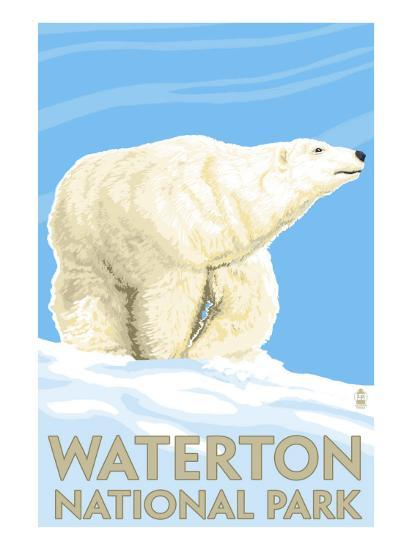 Waterton National Park, Canada - Polar Bear-Lantern Press-Art Print