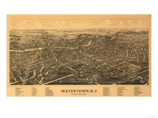 Watertown, New York - Panoramic Map-Lantern Press-Art Print