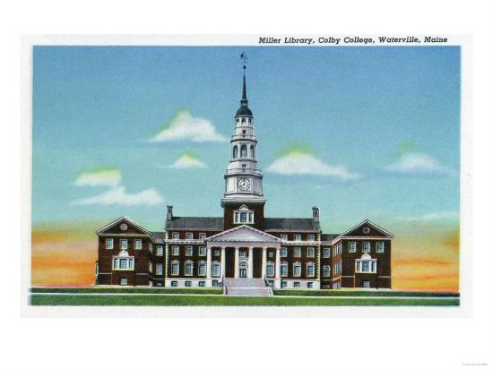 Waterville, Maine - Exterior View of Colby College Miller Library-Lantern Press-Art Print