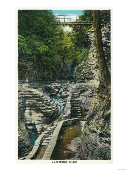 Watkins Glen, New York - View of a Suspension Bridge-Lantern Press-Art Print