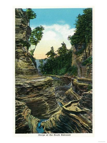 Watkins Glen, New York - View of the Southern Entrance Gorge-Lantern Press-Art Print