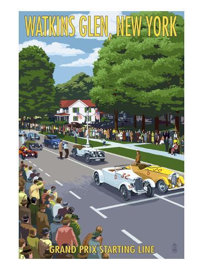 Watkins Glen State Park, New York - Grand Prix Starting Line-Lantern Press-Art Print