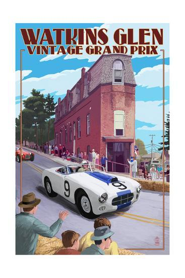 Watkins Glen State Park, New York - Vintage Grand Prix-Lantern Press-Art Print