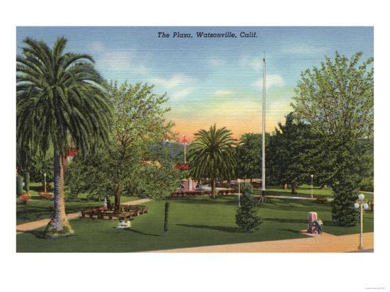 Watsonville, California - View of the Plaza-Lantern Press-Art Print
