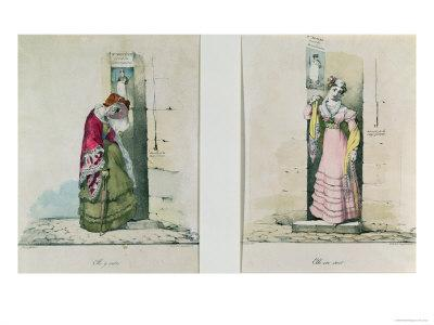 Woman Entering and Leaving an Abortion Clinic, Engraved by Godefroy Engelmann