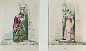 Woman Entering and Leaving an Abortion Clinic, Engraved by Godefroy Engelmann by Wattier