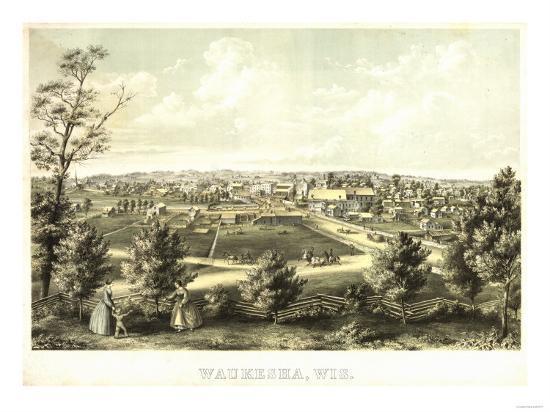 Waukesha, Wisconsin - Panoramic Map-Lantern Press-Art Print